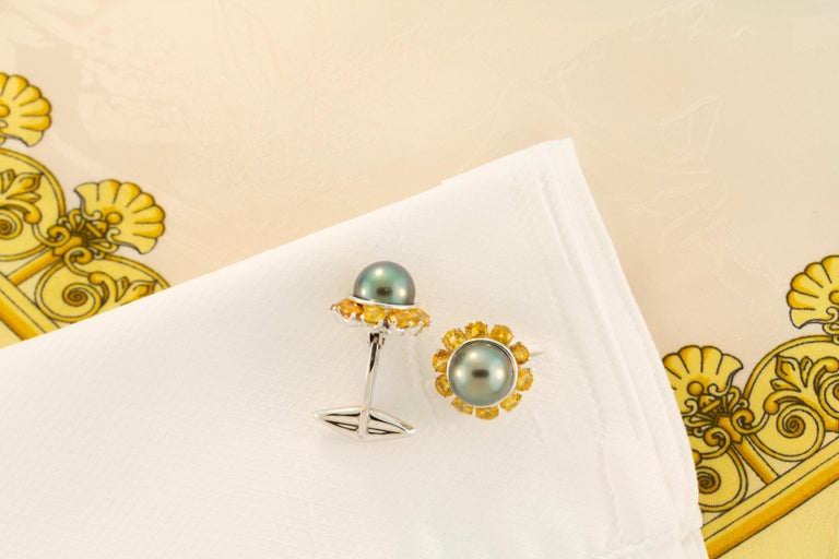 Ella Gafter Black Pearl Sapphire Cufflinks In New Condition For Sale In New York, NY