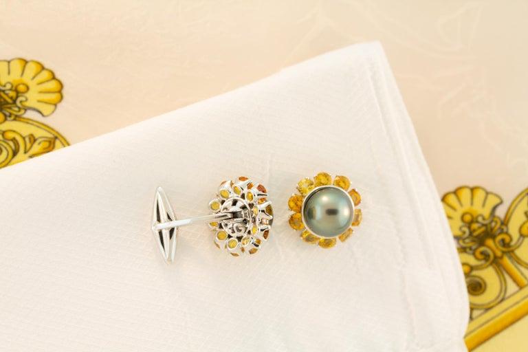 Men's Ella Gafter Black Pearl Sapphire Cufflinks For Sale