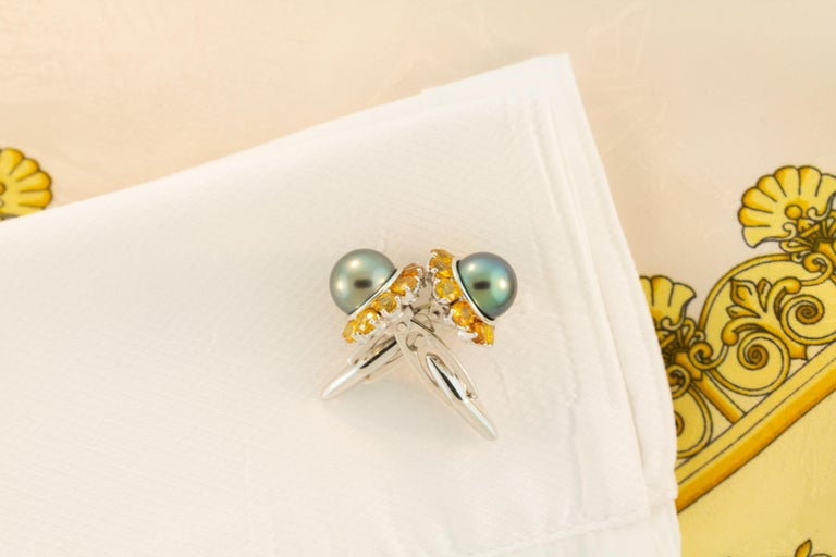 Ella Gafter Black Pearl Sapphire Cufflinks For Sale 1