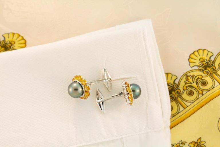 Ella Gafter Black Pearl Sapphire Cufflinks For Sale 2