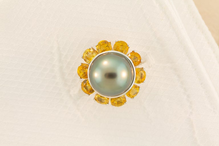 Ella Gafter Black Pearl Sapphire Cufflinks For Sale 3