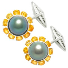 Ella Gafter Black Tahitian Pearl Cufflinks Sapphire White Gold