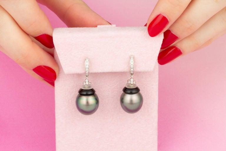 Artist Ella Gafter Black Tahitian Pearl Diamond Drop Earrings For Sale