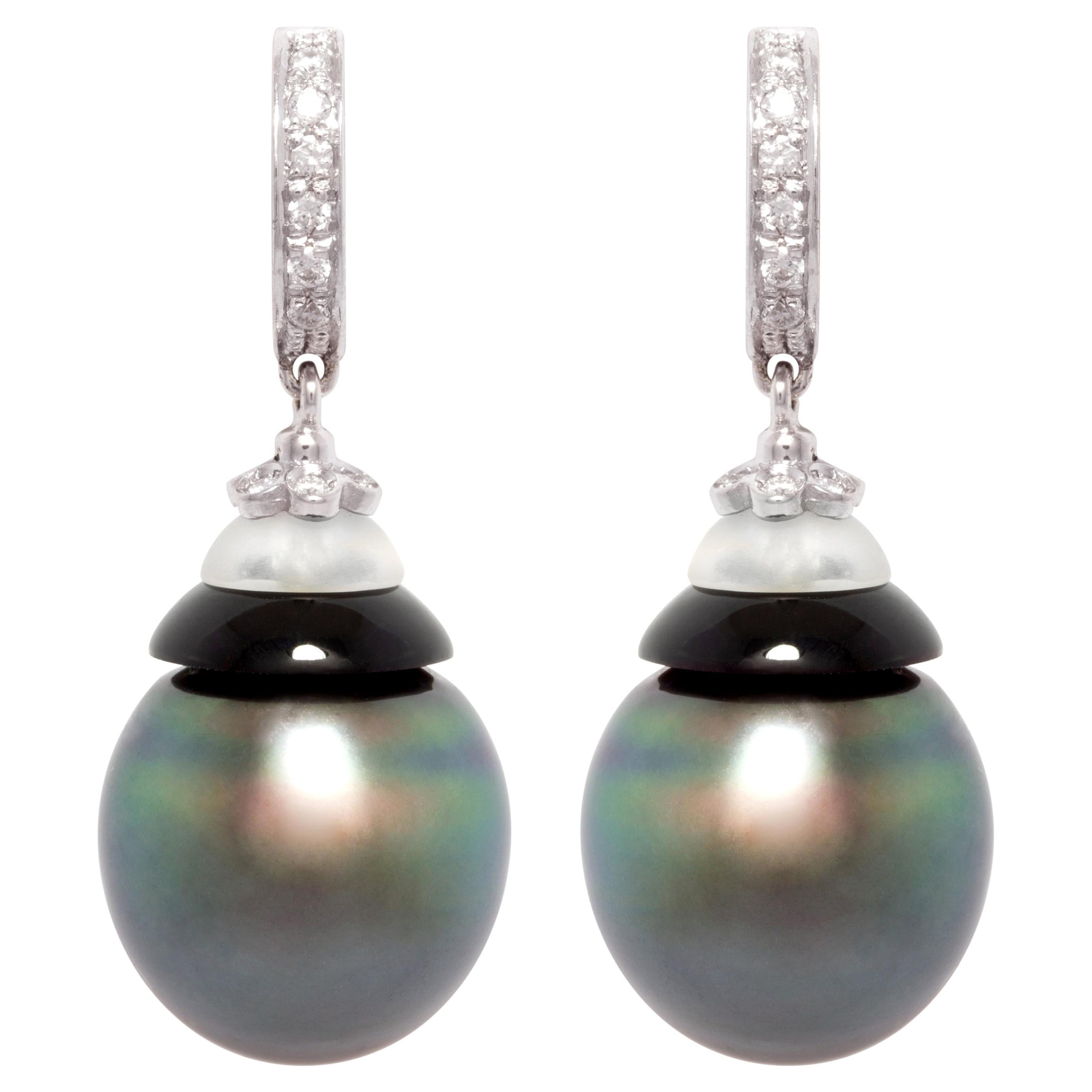 Ella Gafter 14mm Black Tahitian Pearl Diamond Earrings