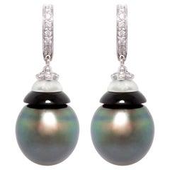 Ella Gafter Black Tahitian Pearl Diamond Drop Earrings