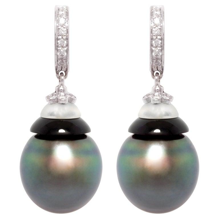 Ella Gafter Black Tahitian Pearl Diamond Drop Earrings For Sale