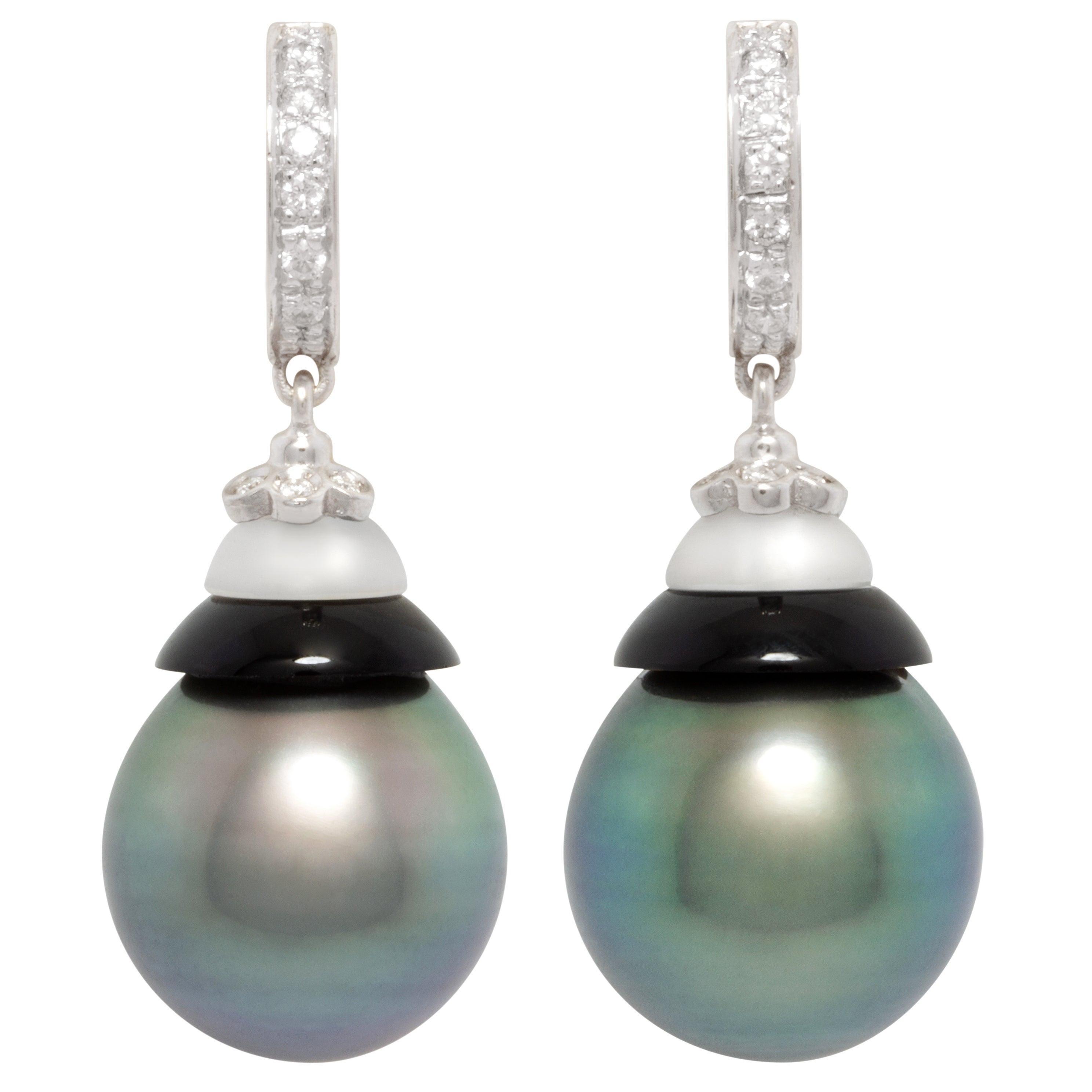 Ella Gafter 14mm Peacock Tahitian Pearl Diamond Earrings