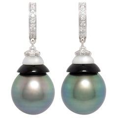 Ella Gafter Black Tahitian Pearl Diamond Earrings White Gold
