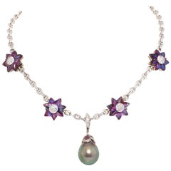 Ella Gafter 17mm Pearl Diamond Flower Necklace