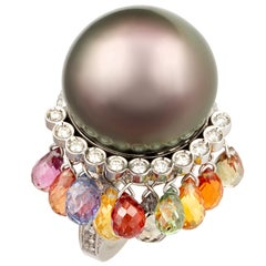 Ella Gafter Black Tahitian Pearl Diamond Ring with Sapphire
