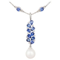 Ella Gafter Blue Ceylon Sapphire Diamond and South Sea Pearl Pendant Necklace