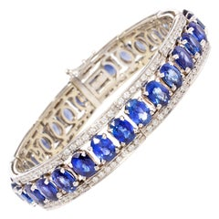 Ella Gafter Blue Ceylon Sapphire Diamond Bangle Bracelet