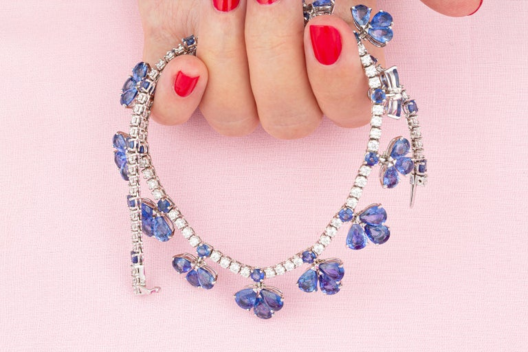 Pear Cut Ella Gafter Blue Ceylon Sapphire Diamond Flower Necklace For Sale