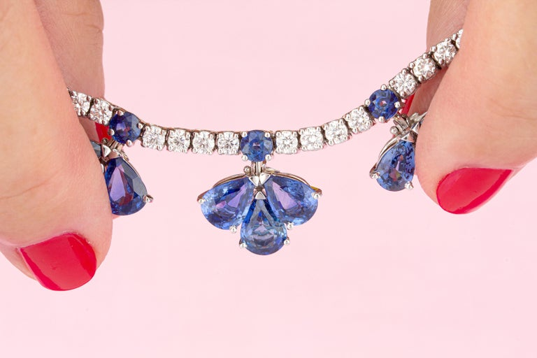 Ella Gafter Blue Ceylon Sapphire Diamond Flower Necklace For Sale 1