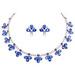 Ella Gafter Blue Ceylon Sapphire Diamond Flower Necklace
