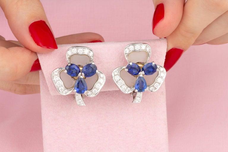 Artist Ella Gafter Blue Sapphire and Diamond Clip-On Earrings Clover Flower Design For Sale