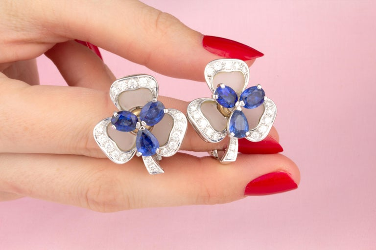 Women's Ella Gafter Blue Sapphire and Diamond Clip-On Earrings Clover Flower Design For Sale