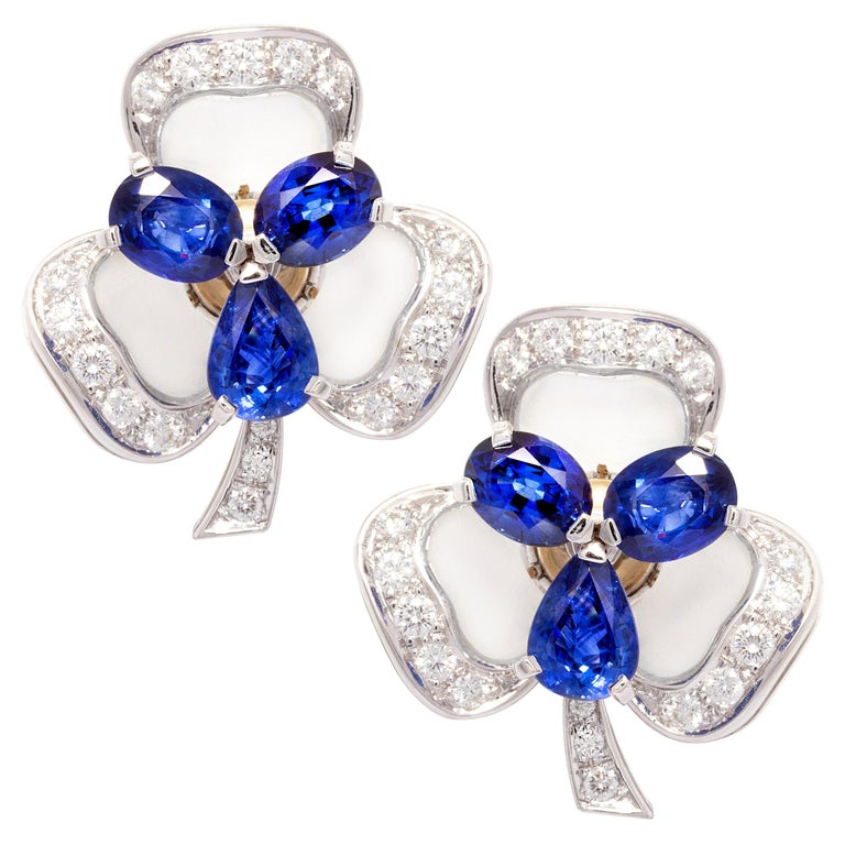 Ella Gafter Blue Sapphire and Diamond Clip-On Earrings Clover Flower Design For Sale