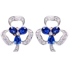 Ella Gafter Blue Sapphire and Diamond Clip-On Earrings Clover Flower Design