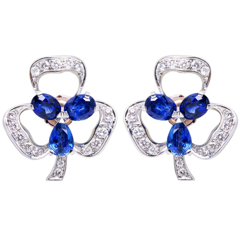 Ella Gafter Blue Sapphire and Diamond Clover Flower Clip-On Earrings