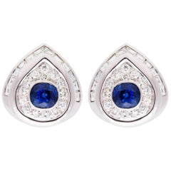 Ella Gafter Blue Sapphire and Diamond Clip-on Earrings