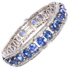 Ella Gafter Diamond Blue Sapphire Cuff Bracelet