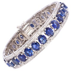 Ella Gafter Blue Sapphire Diamond Cuff Bracelet