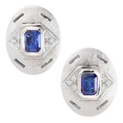 Ella Gafter Blue Sapphire and Diamond White Gold Cufflinks