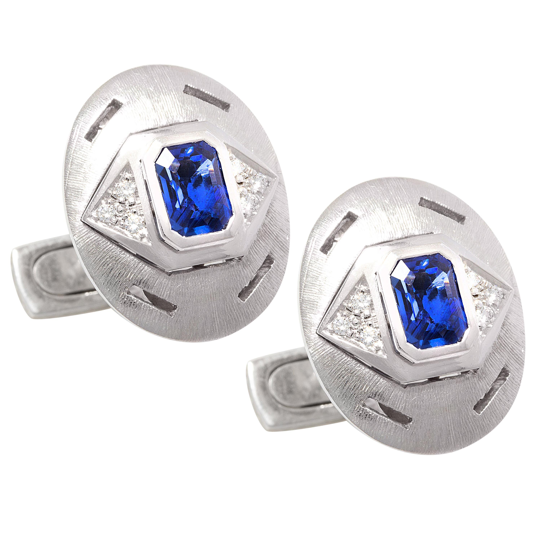 Ella Gafter Sapphire Diamond White Gold Cufflinks