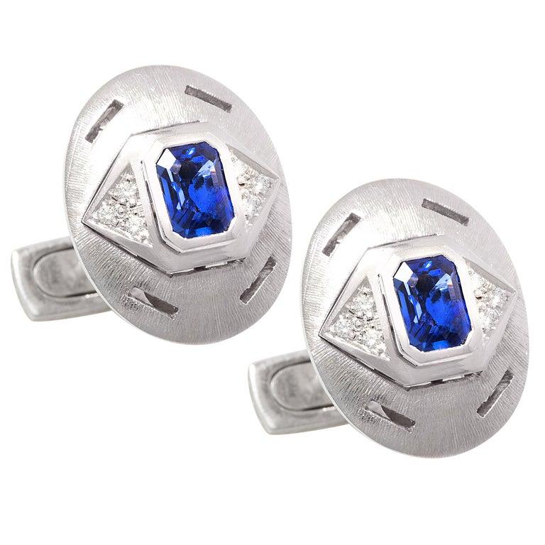 Ella Gafter Sapphire Diamond White Gold Cufflinks For Sale