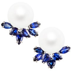 Ella Gafter Blue Sapphire and South Sea Pearl Diamond Earrings