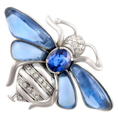 Ella Gafter Blue Sapphire Diamond Butterfly Brooch Pin