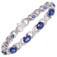 Ella Gafter Blue Sapphire Diamond Flexible Bracelet