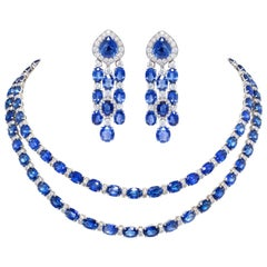 Ella Gafter Blue Sapphire Diamond Necklace Earrings