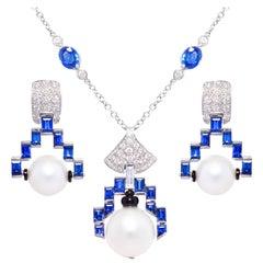Ella Gafter Blue Sapphire Diamond Necklace Earrings Set