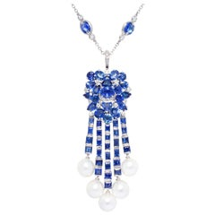 Ella Gafter Blue Sapphire Diamond Pearl Necklace