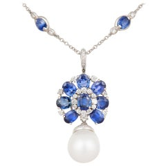Ella Gafter Blue Sapphire Diamond Pendant Necklace with South Sea Pearl