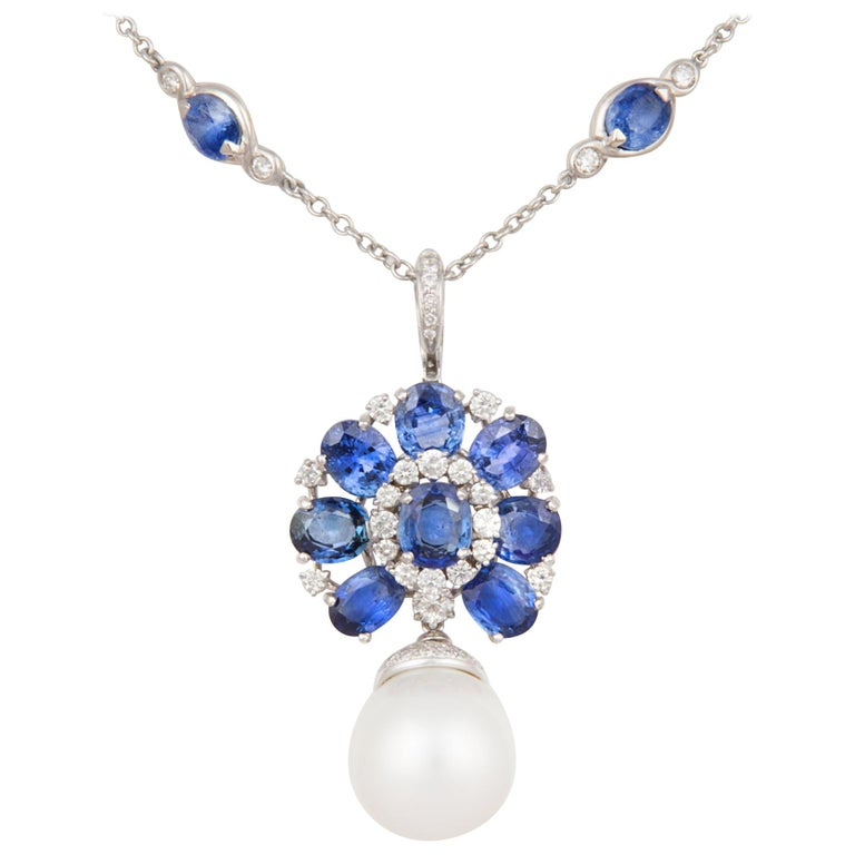 Ella Gafter Blue Sapphire Diamond Pendant Necklace with South Sea Pearl For Sale
