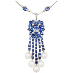 Ella Gafter Blue Sapphire Diamond Pendant Necklace with South Sea Pearls