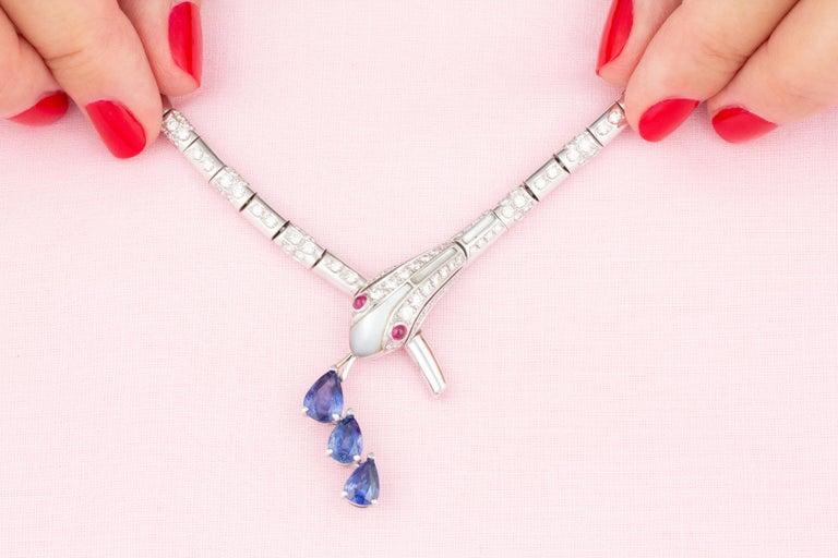 Artist Ella Gafter Blue Sapphire Diamond Snake Necklace For Sale