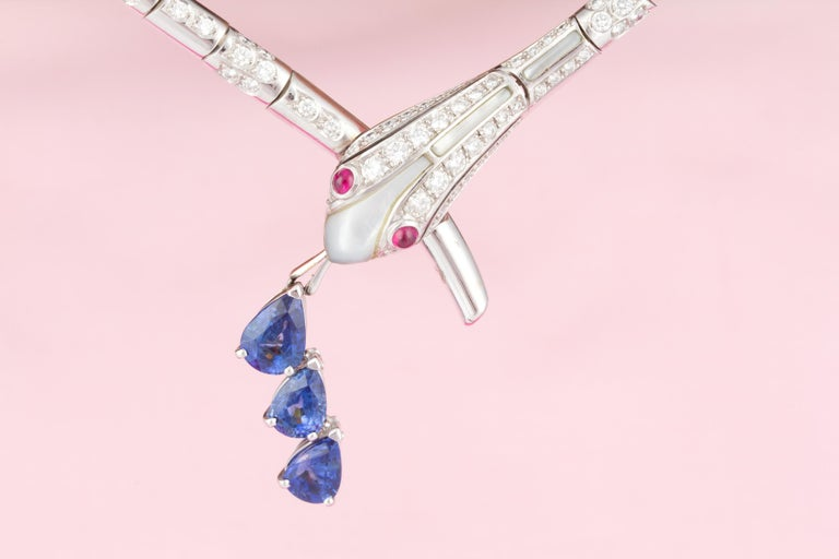 Brilliant Cut Ella Gafter Blue Sapphire Diamond Snake Necklace For Sale