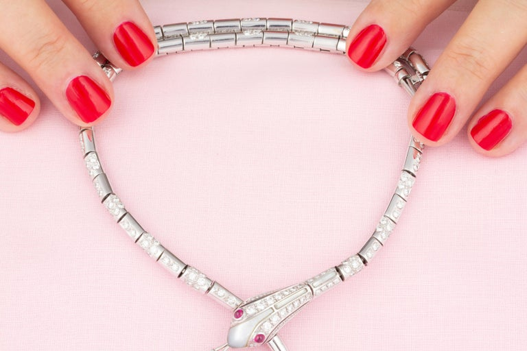 Ella Gafter Blue Sapphire Diamond Snake Necklace For Sale 2