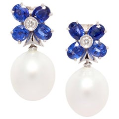 Ella Gafter Blue Sapphire Pearl Flower Earrings
