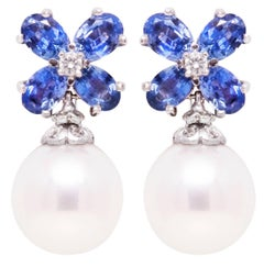 Ella Gafter Blue Sapphire South Sea Pearl and Diamond Flower Drop Earrings