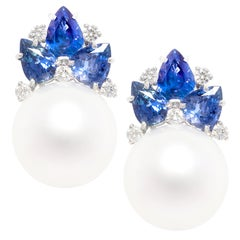 Ella Gafter Blue Sapphire South Sea Pearl and Diamond Flower Earrings