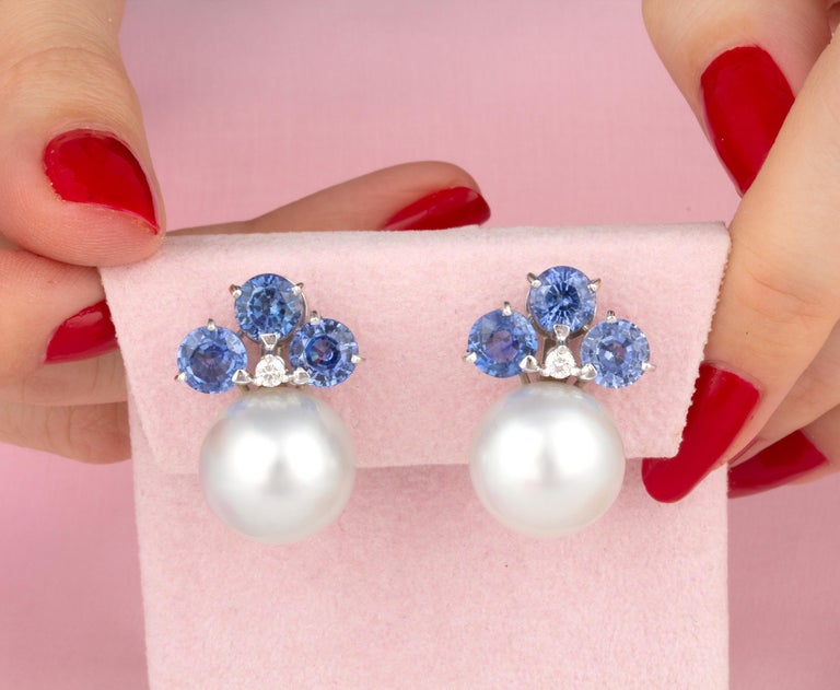 Artist Ella Gafter Blue Sapphire South Sea Pearl Clip-On Earrings with Diamonds For Sale