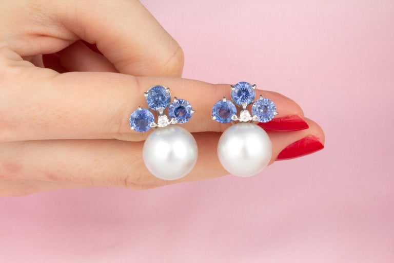 Women's Ella Gafter Blue Sapphire South Sea Pearl Clip-On Earrings with Diamonds For Sale