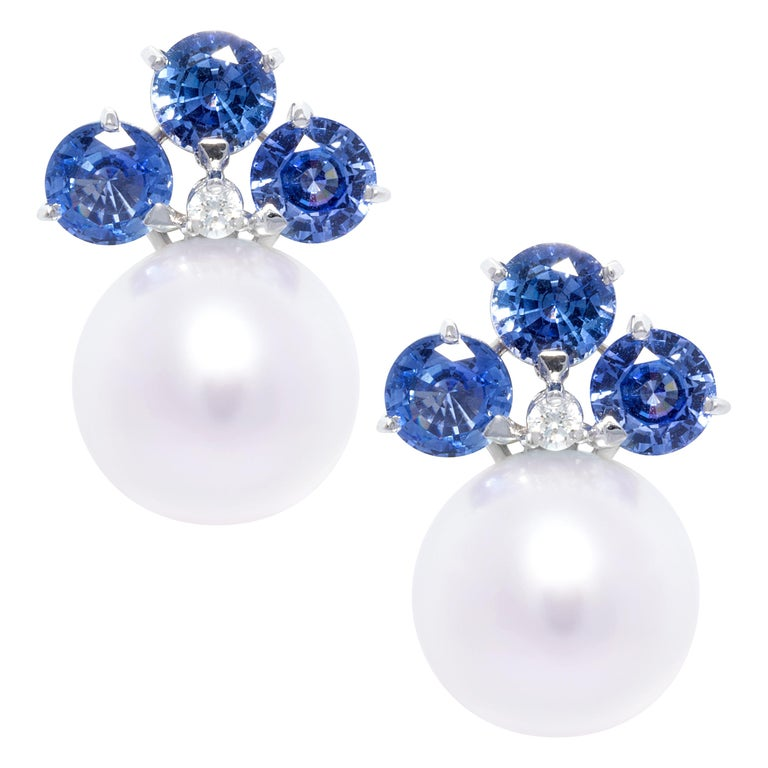 Ella Gafter Blue Sapphire South Sea Pearl Clip-On Earrings with Diamonds For Sale
