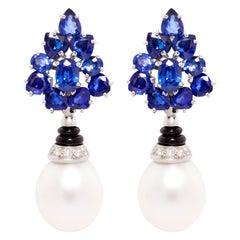 Ella Gafter Blue Sapphire South Sea Pearl Diamond Earrings