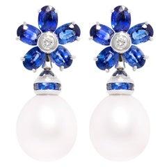 Ella Gafter Blue Sapphire South Sea Pearl Drop Earrings Flower Design